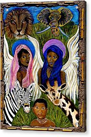 African Angels Acrylic Print by The Art With A Heart By Charlotte Phillips