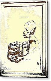 African Boy Brown Acrylic Print by Sheri Buchheit