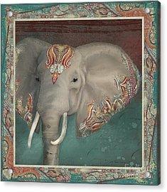 African Bull Elephant - Kashmir Paisley Tribal Pattern Safari Home Decor Acrylic Print