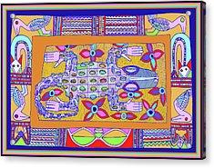 Acrylic Print featuring the digital art African Croc Beach Bum by Vagabond Folk Art - Virginia Vivier