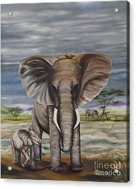 African Elephant Acrylic Print by Ann Kleinpeter