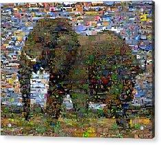 Acrylic Print featuring the mixed media African Elephant Wild Animal Mosaic by Paul Van Scott