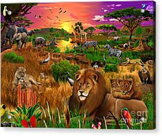 African Evening Acrylic Print by Gerald Newton