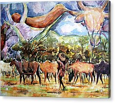 African Herdsmen Acrylic Print by Bankole Abe