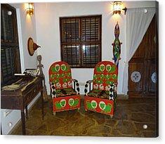 African Interior Design 5 Beaded Chairs Acrylic Print by Exploramum Exploramum