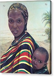 African Mother And Child Acrylic Print by Laila Awad Jamaleldin