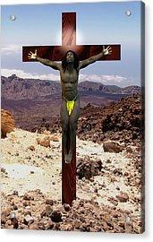 African Man Crucified Acrylic Print