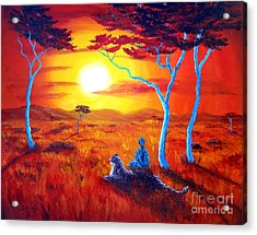 African Sunset Meditation Acrylic Print by Laura Iverson