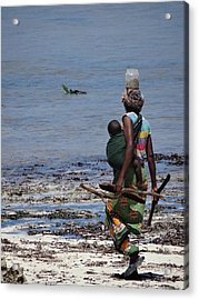 African Woman Collecting Shells 1 Acrylic Print