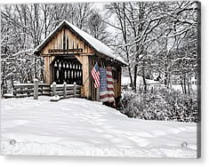After A Winter Snow Storm Cilleyville Covered Bridge  Acrylic Print