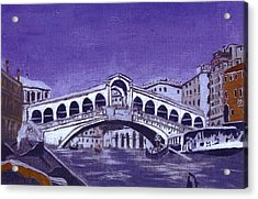 After Canal Grande With The Rialto Bridge Acrylic Print by Hyper - Canaletto