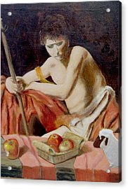 after Carravaggio's John in the widerness with apples and lamb Acrylic Print by Edward Merrell