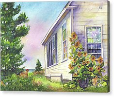 Acrylic Print featuring the painting After School Activities At Monhegan School House by Susan Herbst