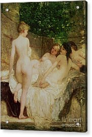 After The Bath Acrylic Print by Karoly Lotz
