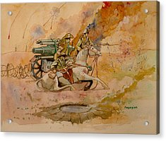 Acrylic Print featuring the painting After The Charge by Ray Agius