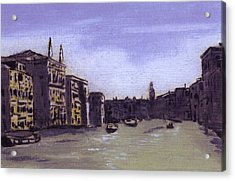 After The Grand Canal From Campo San Vio Near The Rialto Bridge Acrylic Print by Hyper - Canaletto