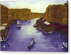 After The Grand Canal From The Rialto Bridge Acrylic Print by Hyper - Canaletto