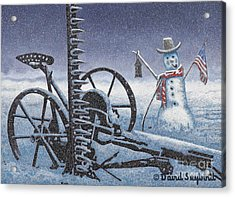 After The Harvest Snowman Acrylic Print by John Stephens