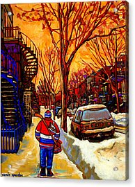 After The Hockey Game A Winter Walk At Sundown Montreal City Scene Painting  By Carole Spandau Acrylic Print by Carole Spandau