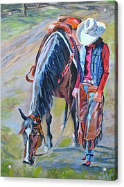 After The Ride Acrylic Print by Anne West