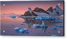 Afterglow Lemarie Channel Antarctica Acrylic Print by Cliff Wassmann