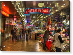 Afternoon At The Pike Street Market Seattle Washington Acrylic Print by Lawrence Christopher