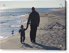 Afternoon Beach Walk Acrylic Print by Russell Ford