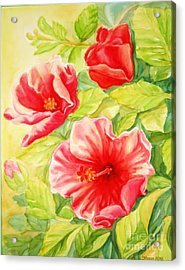 Acrylic Print featuring the painting Afternoon Hibiscus by Inese Poga