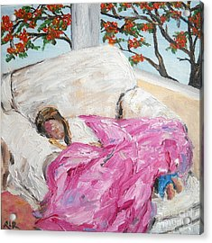 Acrylic Print featuring the painting Afternoon Nap At Grandmas by Reina Resto