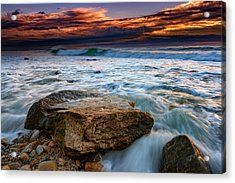 Against The Tide At Montauk Point Acrylic Print by Rick Berk