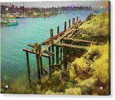 Aged Docks From Winthrop Acrylic Print