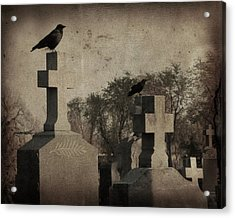 Aged Graveyard Scene Acrylic Print by Gothicrow Images