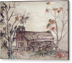 Acrylic Print featuring the painting Aged Wood by Debbi Saccomanno Chan