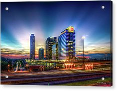 Acrylic Print featuring the photograph Aglow Atlanta Midtown Atlantic Station Sunset Art by Reid Callaway