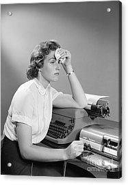 Ailing Secretary At Desk Acrylic Print