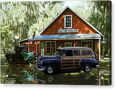 Air Brushed Woody At Country Store Acrylic Print by John Breen