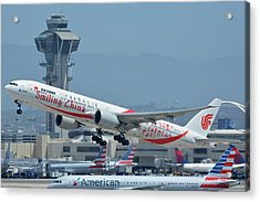 Acrylic Print featuring the photograph Air China Boeing 777-39ler B-2035 Smiling China Los Angeles International Airport May 3 2016 by Brian Lockett