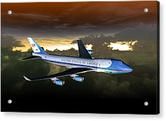 Acrylic Print featuring the digital art Air Force One 28.8x18 by Mike Ray