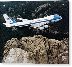 Air Force One Flying Over Mount Rushmore Acrylic Print by War Is Hell Store