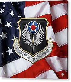 Air Force Special Operations Command -  A F S O C  Shield Over American Flag Acrylic Print by Serge Averbukh