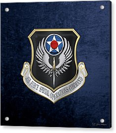 Air Force Special Operations Command -  A F S O C  Shield Over Blue Velvet Acrylic Print by Serge Averbukh