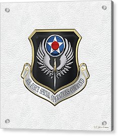 Air Force Special Operations Command -  A F S O C  Shield Over White Leather Acrylic Print by Serge Averbukh