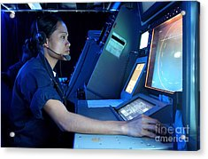 Air Traffic Controller Monitors Marine Acrylic Print by Stocktrek Images