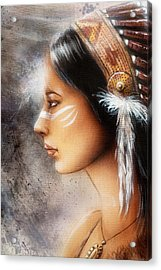 Airbrush Painting Of A Young Indian Woman. Profile Portrait Acrylic Print