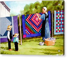 Airing The Quilts Acrylic Print by Faye Ziegler