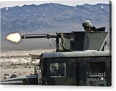 Airman Fires A .50 Caliber Heavy Acrylic Print by Stocktrek Images