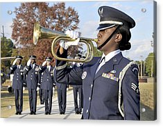 Airman Plays Taps During The Veterans Acrylic Print by Stocktrek Images
