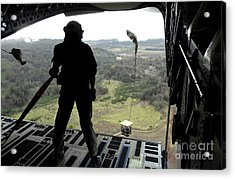 Airman Watches A Practice Bundle Fall Acrylic Print by Stocktrek Images