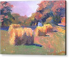 Airmont Hay Bales Morning Acrylic Print by Timothy Chambers