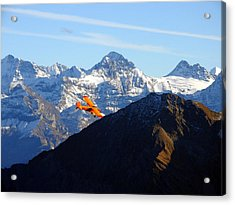 Airplane In Front Of The Alps Acrylic Print